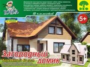 Деревянные пазлы конструктор Загородный домик лазерная резка