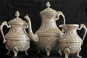 Мельхиоровый кофейный набор,  пр-во Египет,  60-70-е годы.