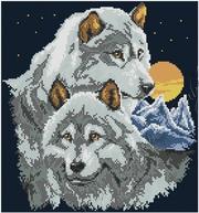 вышивка бисером Вместе навеки,  пара волков